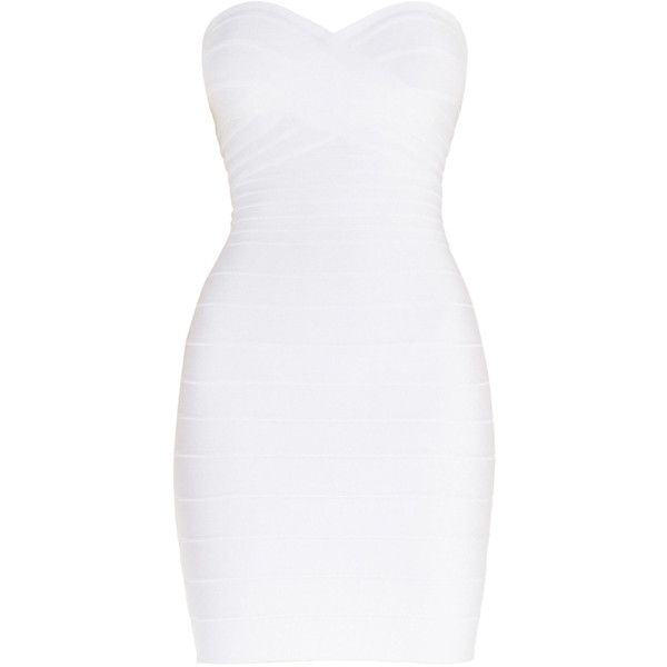 Herve Leger Denise Signature Essentials Strapless Dress ($950) ❤ liked on Polyvore featuring dresses, bandage dress, sweetheart dress, strapless bandage dress, sweetheart neckline cocktail dress and white strapless dress