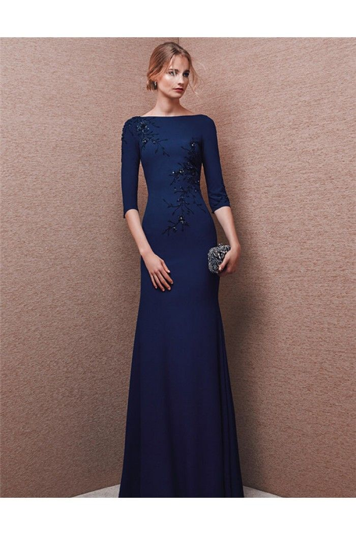 Modest Mermaid Bateau Neck Long Navy Blue Chiffon Beaded Evening Dress With Sleeves