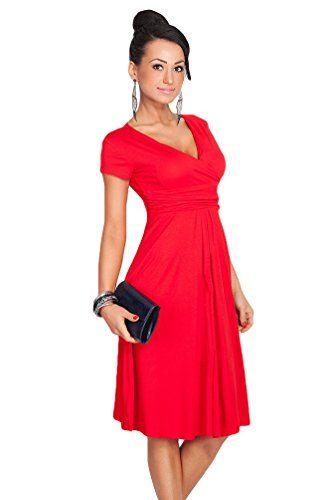 YuanDian Femme été Elegante Profond V Col Manche Courte Taille Empire  Patineuse Robe Longueur Genoux Midi Swing Robes Rouge 2XL b81e00bfb81d