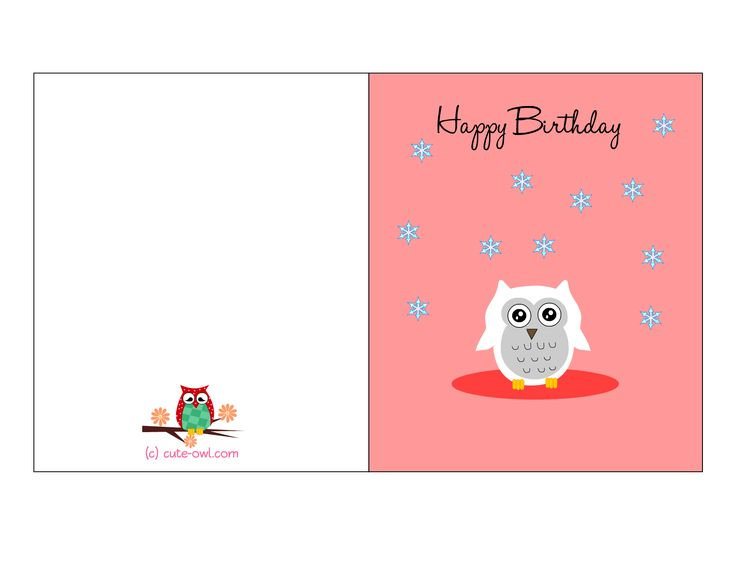 15 best images about Free printable owl birthday stuff on – Birthday Cards Printable