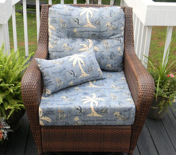 Indoor / Outdoor Deep Seating Chair Cushion Set   Seat U0026 Back   Tommy  Bahama Blue Nautical / Tropical, Choose Size + Free Matching Pillow
