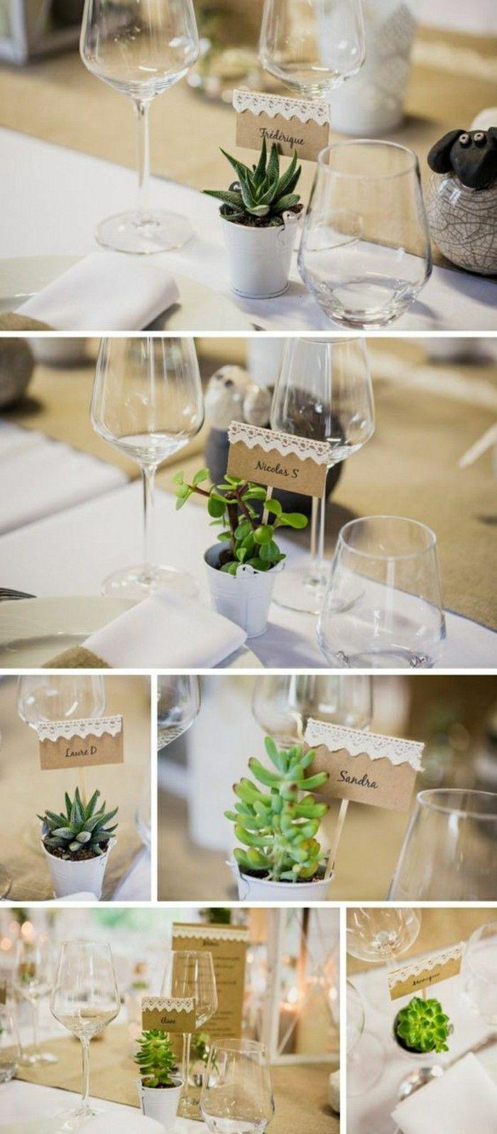 decoration avec plantes vertes, comment decorer la table de mariage avec petites…