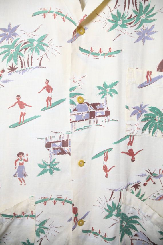 Authentic 1940s pale yellow cotton blend Hawaiian shirt featuring tropical scenes of surfer dudes, hula dancers, people in canoes, a lounger under an umbrella, and thatch roof huts under palm trees! The original label tag has been worn off, size tag reads L. Truly the perfect summer Hawaiian shirt! Fits like: Large Shoulder to shoulder: 19.5 Chest: 48 Sleeve: 11 Length: 29.5  Condition: Great, top button has been replaced.  Features: -Chest pocket -2 slanted pockets at waist -5 buttons down…
