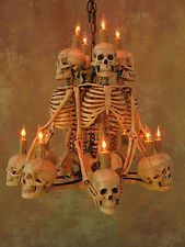 Four Skeleton Chandelier, Halloween Prop, Human Skeletons Skulls, NEW