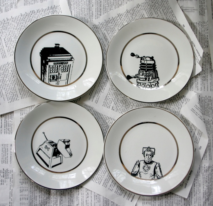 Ironstone Dr Who Themed Altered Vintage Plates Set of Four. $48.00, via Etsy.Theme Altered, Vintage Plates, Ironstone Dr., Plates Sets, Dr. Who, Altered Vintage, Dr Who