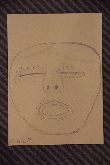 Norwich High School student drawing of... Maskette. Japan. Final Jomon period (c. 1000-400 B.C.). Earthenware. w 5.1 cm. Acquired 1963. Robert and Lisa Sainsbury Collection. UEA 279. www. scva.ac.uk