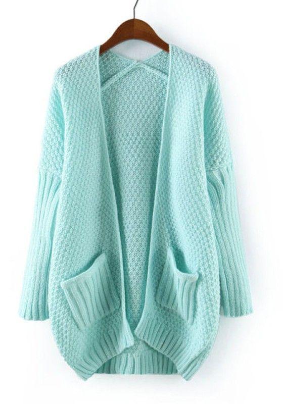 Light Blue Plain V-neck Seven's Sleeve Blend Cardigan
