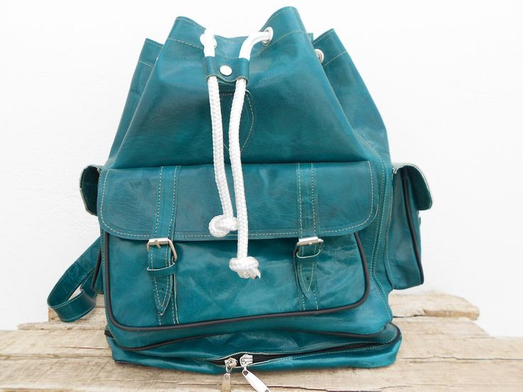 Sac à dos en cuir turquoise de grande taille pour filles et garçons, Sac de voyage en cuir : Sacs à dos, cartables par noussabags
