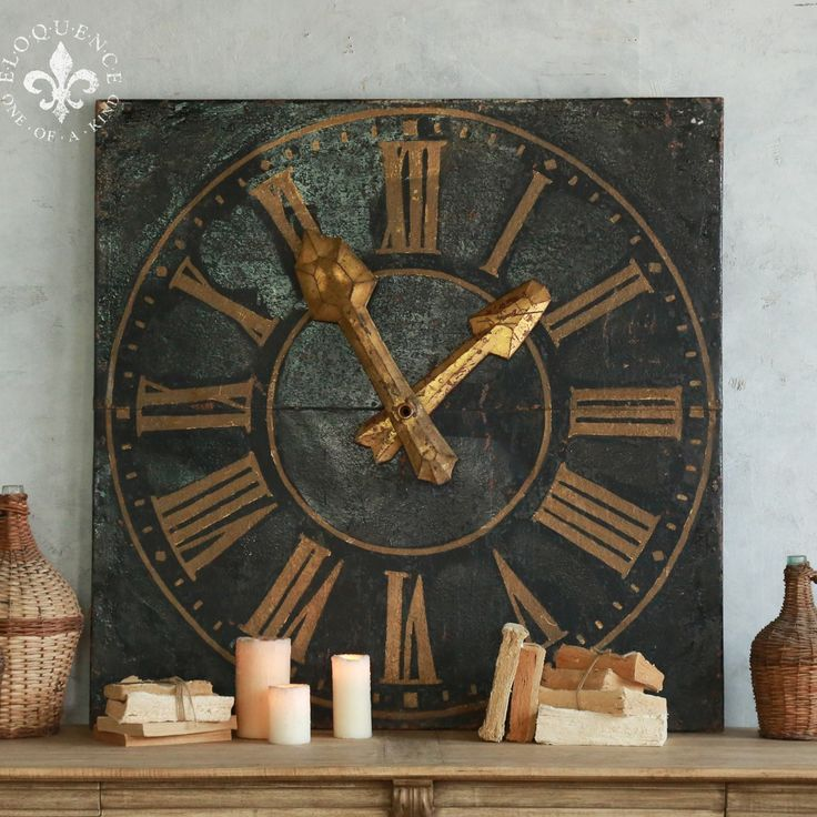 Cool old square clock face in chipping aged black paint with gold roman numerals. Fantastic decorative piece with great texture.  47H x 47W x 6D  Return Policy: This item is not eligible for returns or exchanges so please make sure to look over the pictures and ask questions before purchasing this beautiful piece.