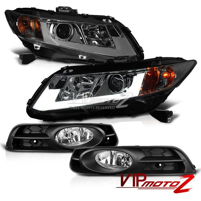 [titanium smoke] 2012 2013 honda civic coupe 2d ex dx lx si headlight + foglights