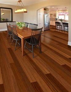 "Show details for Home Legend Exotic Collection Avalon Brazilian Teak- 5"" wide plank floor, dark brown floor, red floor, brazilian teakfloor, smooth floor, flooring ideas, engineered floor"