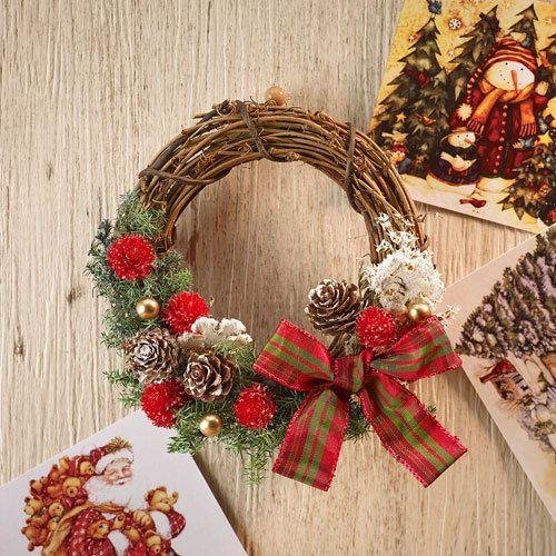 クリスマス・お正月2WAY手作りリースキット「プティレッド」|日比谷花壇|フラワーギフト通販