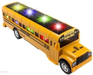 WolVol Electric Small Yellow School Bus Toy with Nice 3D Flashing Lights and Music, Goes Around and Changes Directions On Contact