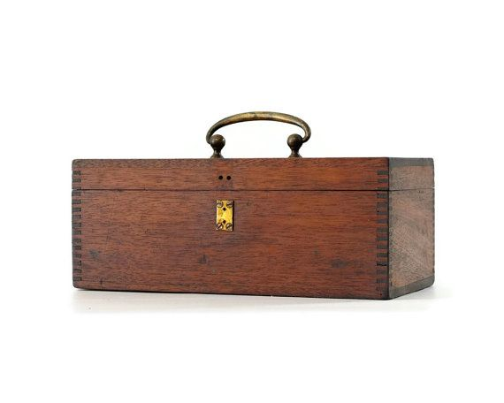 Vintage Wood Box with Handle Dovetailed Tool Box by GizmoandHooHa, $45.00
