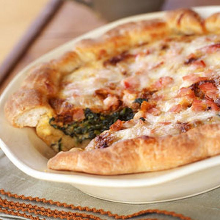Caramelized-Onion, Spinach, and Bacon Quiche Recipe Main Dishes with crust pizza refriger, cooking spray, frozen chopped spinach, low-fat sour cream, shallots, evaporated skim milk, salt, pepper, large egg whites, large eggs, onions, canadian bacon, reduced fat monterey jack cheese
