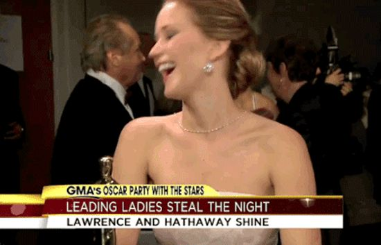 Pin for Later: Proof That Jennifer Lawrence Is a Fangirl Just Like You When She Flirted With Jack Nicholson Surprisingly, Jennifer Lawrence contained herself for the entirety of her conversation with Jack. The moment he walked away, though, she lost it.