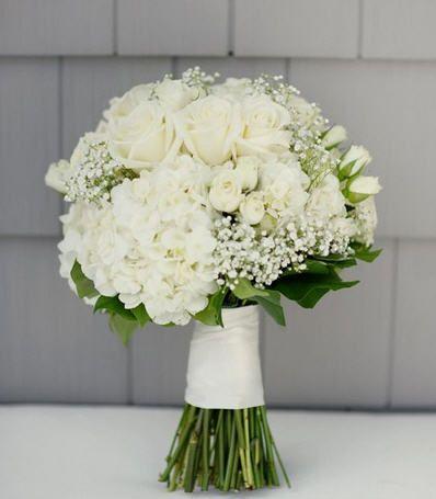 White hydrangea with white roses