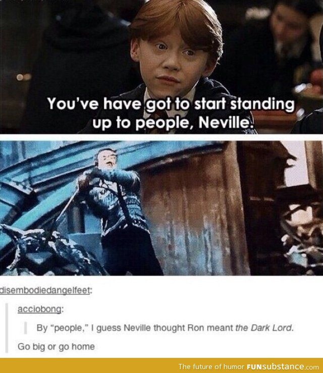 By people Neville thought he would stand up to the dark lord go big or go home Neville the bad animal