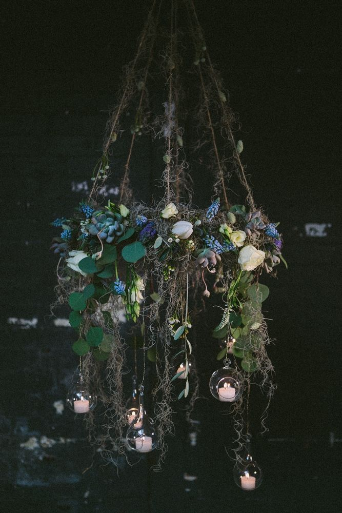 Hanging Floral Arrangement with Votives | Midsummer Nights Dream Bridal Inspiration Shoot | Flowers By Campbell's Flowers | Dresses And Styling From The White Room Sheffield | Image by India Hobson | http://www.rockmywedding.co.uk/where-the-wild-thyme-blows/