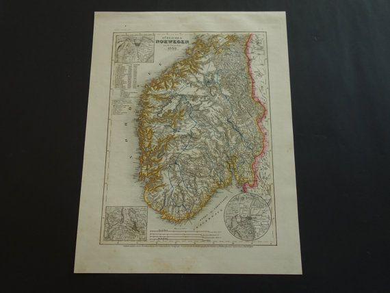 NORWAY old map of Norway 1849 original antique by VintageOldMaps