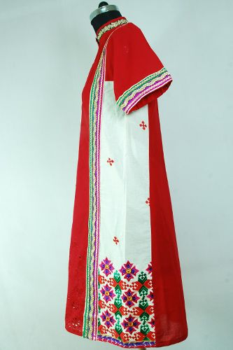 Phulkari Embroidery Kurti, Eyelet work on front, Zari border on front, neckline & sleeves.