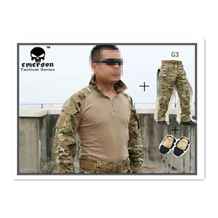 106.67$  Watch now - http://aliew6.worldwells.pw/go.php?t=32440055669 - Emerson bdu G3 Combat uniform shirt & Pants & knee pads Military Army uniform Multi-Cam suit EM8527 +EM8567