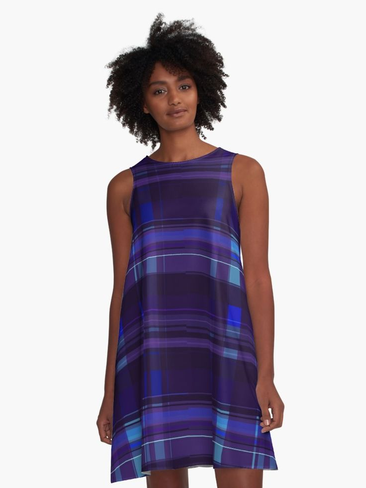 Purple Plaid A-Line dress by Scar Design. #dress #fashion #giftsforher #purpledress #alinedress #buydress #modern #plaid #plaiddress #cool #awseome #gifts #purple #violet  #family #onlineshopping #online #shopping #style #womensfashion #giftideas #39 • Also buy this artwork on apparel, stickers, phone cases, and more.
