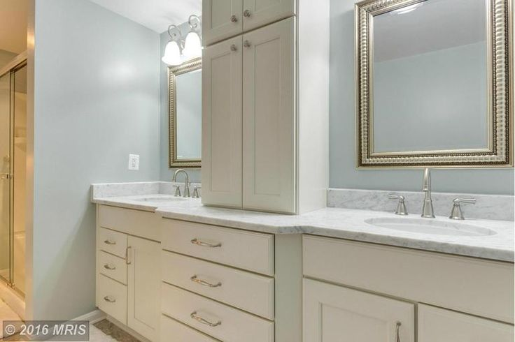 Dual sink vanity with lots of cabinet space at 19360 MAGNOLIA GROVE SQ #314 Leesburg VA - The Spear Realty Group