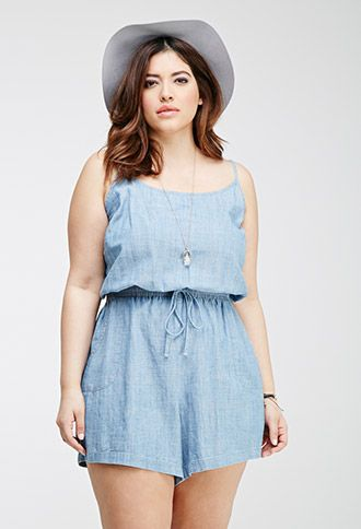 Chambray Cami Romper | FOREVER21 PLUS - 2049257706
