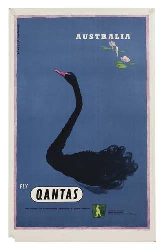 Vintage Travel Poster - Australia - Fly Qantas -  by Douglas Annand.
