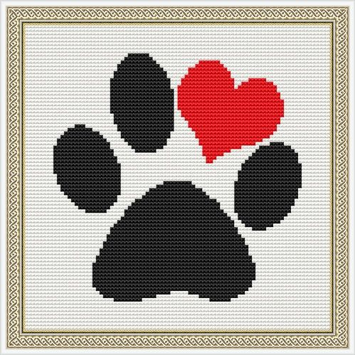 Love Puppy Paw Print Counted Cross Stitch Pattern in PDF for Instant Download