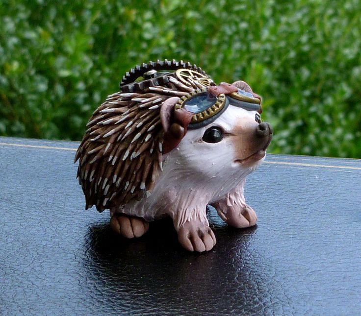 Handmade Polymerclay Steampunk Hedgehog by MysticReflections