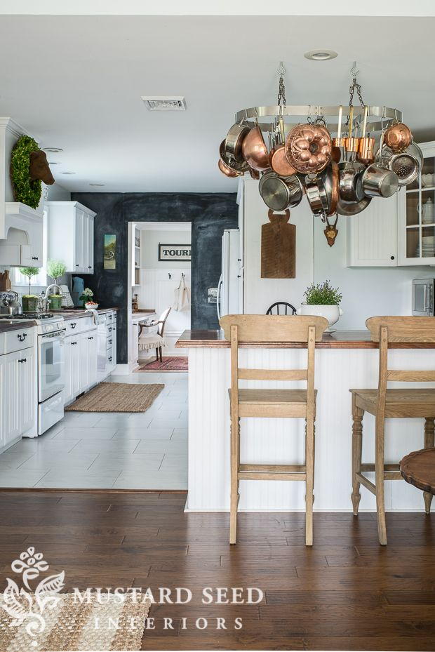 styling tips   for home - Miss Mustard Seed (Only this one photo of her interesting kitchen floor plan.)