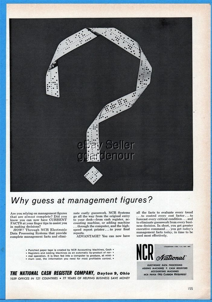 1961 NCR Electronic Data Processing System National Cash Register Computer Ad