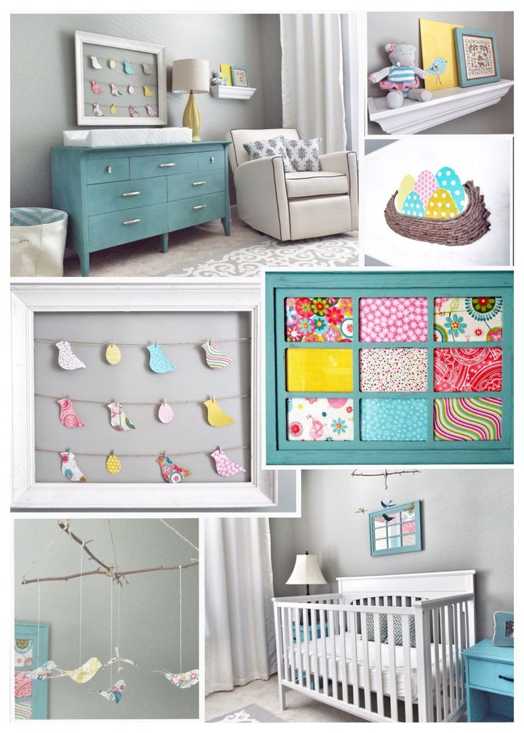 A Perfectly Pretty Turquoise, Yellow and Pink Bird-themed Nursery, Part 1: Chalk Painted Dresser