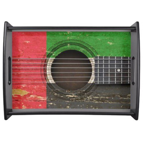 Old Acoustic Guitar With United Arab Emirates Flag Serving Tray With Images Emirates Flag United Arab Emirates
