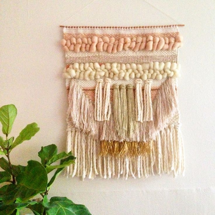 Weaving woven wall hanging tapestry by Maryanne Moodie www.maryannemoodie.com
