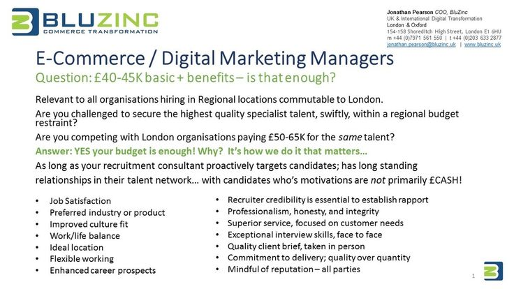 Hiring E-commerce or Digital Marketing Managers? Agencies saying your salary isn't enough? www.bluzinc.uk