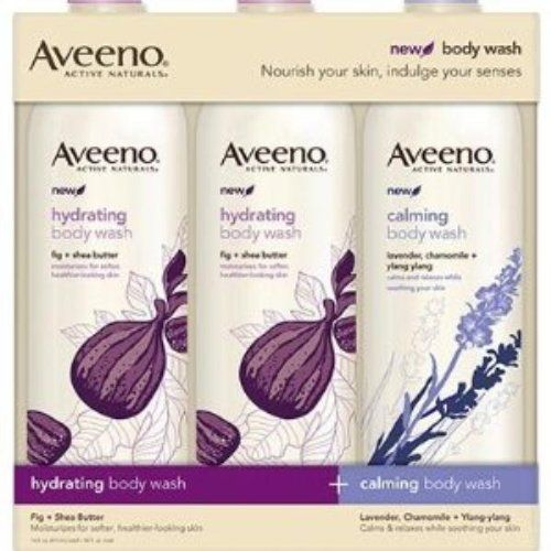 Aveeno Hydrating & Calming Body Wash - 3 Pack by Aveeno. $14.61. Claming Body Wash Lavender, Chamomile, Ylang-Ylang. Natural Ingredients deliver visible results. New Positively Nourishing Body Wash - Nourish your skin, indulge your senses.. Recommended by Dermatoligists and Pediatricians for over 60 Years. Hydrating Body Wash with Fig and Shea Butter. Recommended by dermatologists and pediatricians for over 60 years, Aveeno combines the best of nature and science to r...