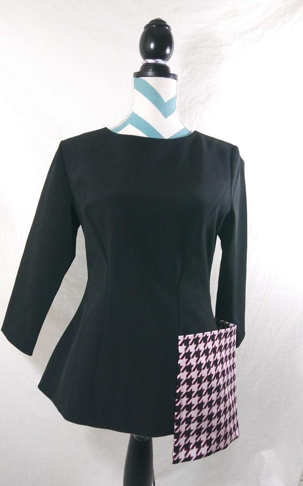 3edb5f06d37 Christian Dior D Uniforms Women Size 8 Black Work Blouse Pink Pocket Top   Dior  Blouse  christiandior  diorduniforms  womensfashion