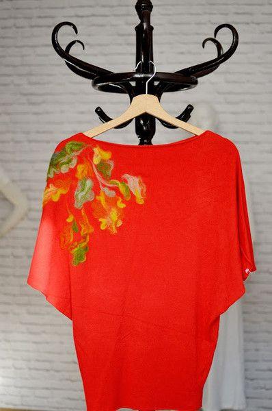 Sweterek kimono filcowane jesienne liście w Letycja odzież ręcznie malowana na DaWanda.com