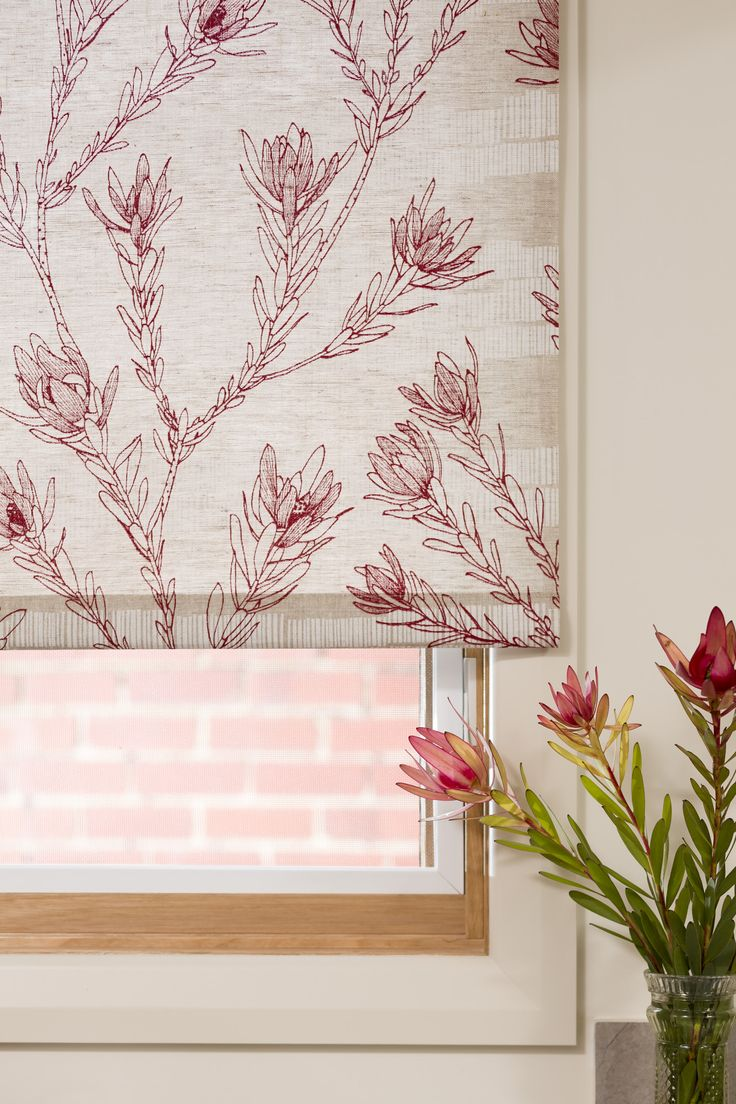 Leucadendron organic hand printed roller blind  www.inkandspindle.com.au