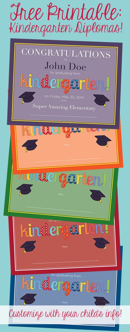 Free printable DIY kindergarten diplomas! Five color options & super easy to customize it with your child's name, the date, and the name of the school.