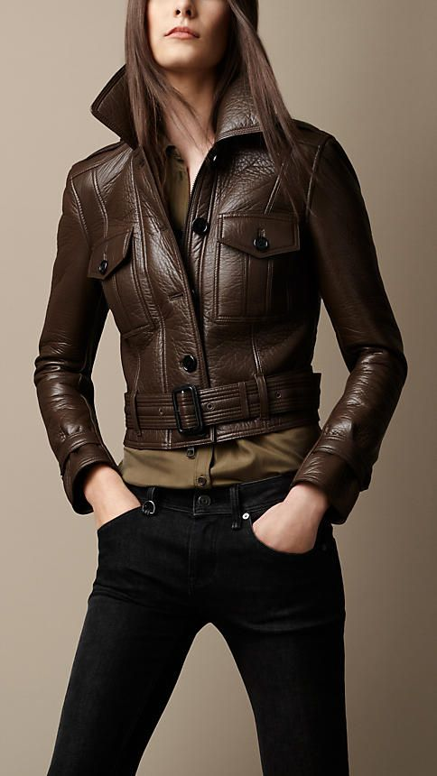 Burberry Brit Cropped Leather Bomber