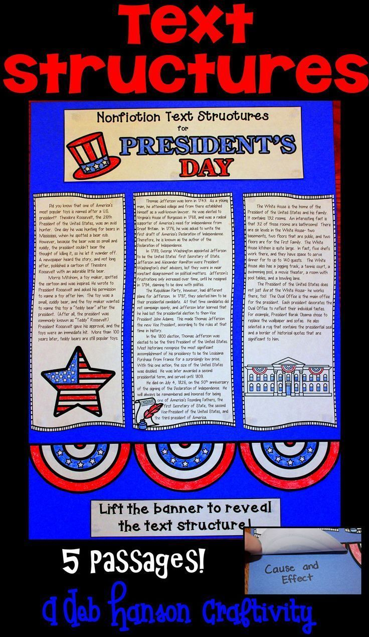 Text Structures Craftivity related to U.S. Presidents- Perfect activity for President's Day, but can be used anytime! Students read 5 passages and determine the  text structure of each passage.