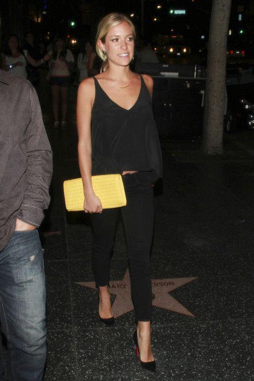 Kristen Cavallari. All black. Neon clutch.