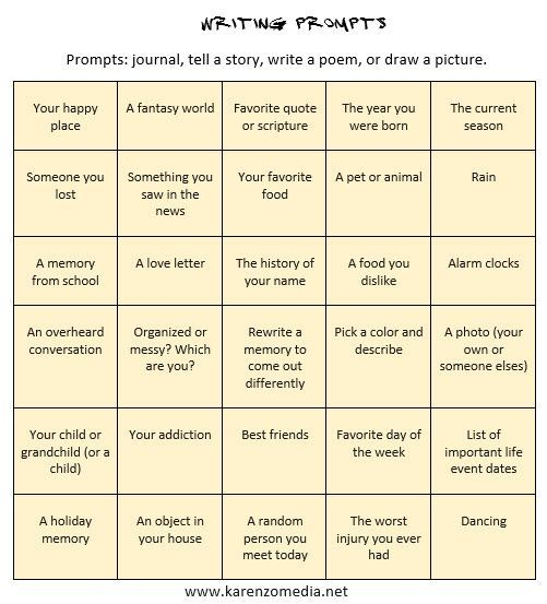 I like to come up with prompts that I can use for inspiration when journaling or considering a story or poem. You can use these prompts one day at a time or print them out, cut them out, and place...: