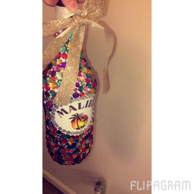 Bedazzled Malibu bottle I made for my best friend's 21st birthday! It took me…