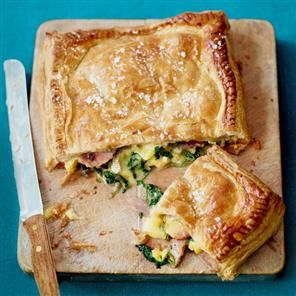 [made] Ham, Brie, Spinach & Red Onion stuffed puff parcel recipe - made this last night, except I left the ham out and didn't put a pastry lid on it. Serve with potato wedges & watercress salad.  Serves 6 |Takes 30 minutes from start to finish.