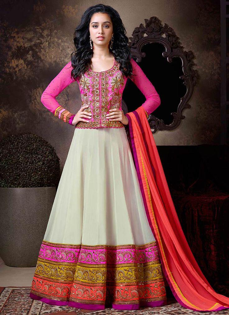 Cream Shraddha Kapoor Floor Length Anarkali